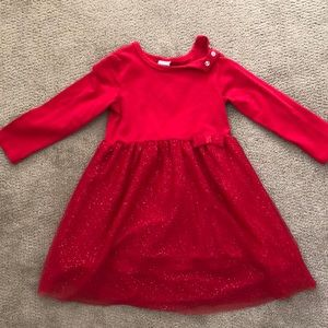 H&M Red Long Sleeve Sparkly Dress in Size 1 1/2-2Y